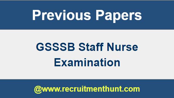 GSSSB Staff Nurse Previous Question Paper