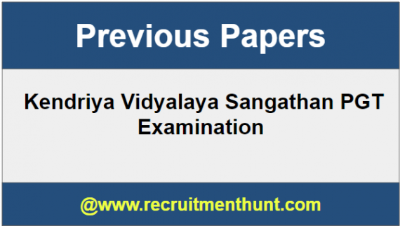 KVS Previous Year Question Papers for PGT