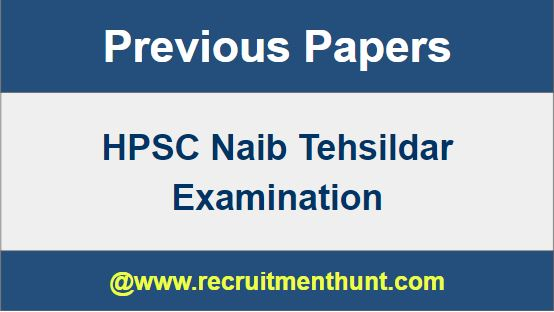HSPC Naib Tehsildar previous Year Question Papers