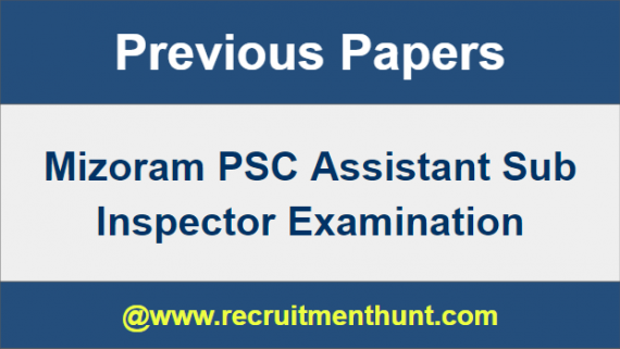 Mizoram sub inspector Previous Year Question Paper