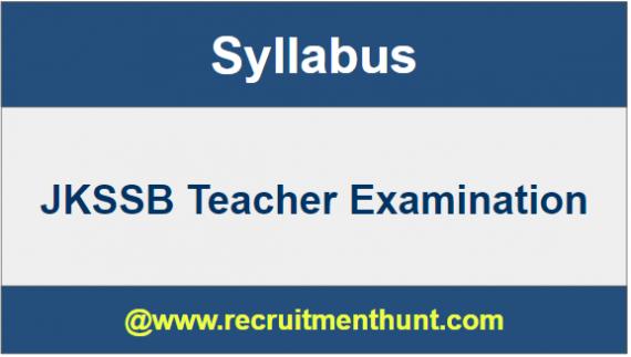 JKSSB Teacher Exam 2019