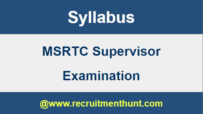 MSRTC Supervisor Syllabus