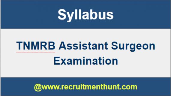 TNMRB Assistant Surgeon Syllabus