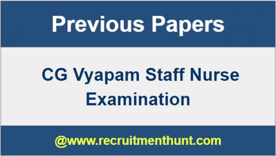 CG Vyapam Staff Nurse Question Papers