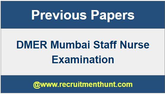 DMER Mumbai Staff Nurse Previous Question Papers