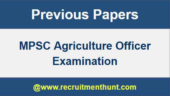 MPSC Agriculture Officer Previous Paper