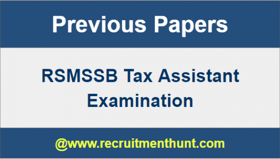 RSMSSB Tax Assistant Question Papers