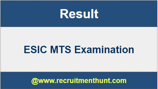 ESIC MTS Result 2019
