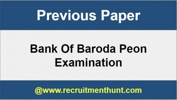 Bank of Baroda Peon Exam Previous papers