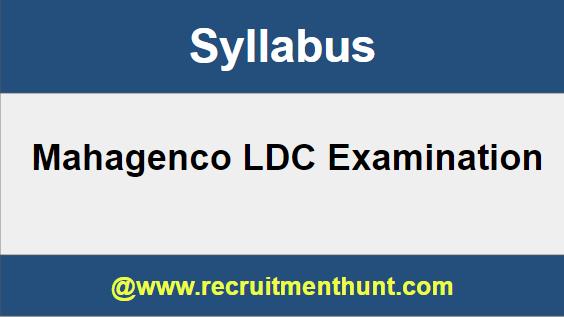 Mahagenco LDC Syllabus