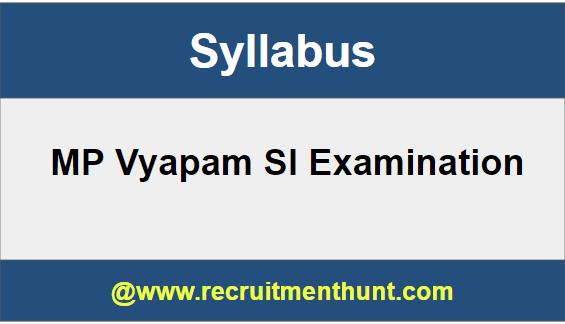 MP Vyapam SI Syllabus