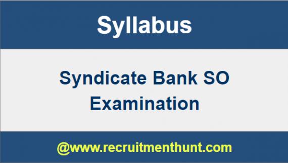 Syndicate Bank SO Syllabus 2019