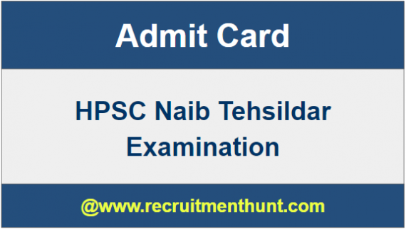 HPSC Naib Tehsildar Hall Ticket